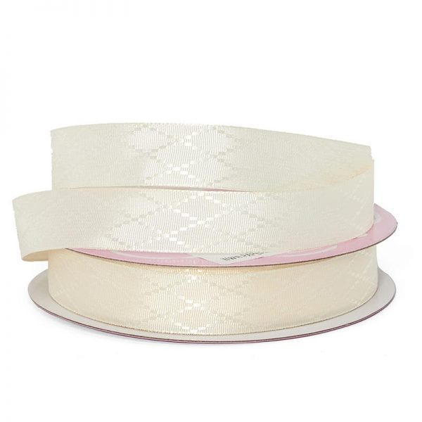 "Ivory Diamond Detail Satin Ribbon - 5/8"" X 25yd - Grosgrain by Paper Mart"