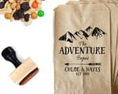 Wedding Favor Bag Stamp The Adventure Begins Rustic Mountain Couples Bridal Shower Personalized Late Night Cookie, Trail Mix Snack Bag