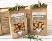 Rustic Wedding Favor Bags Popcorn, Country theme Wedding, Thanks For Popping By Kraft Bags, Favors for Guests, Treat Bags 20