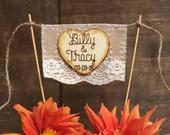 Personalized Wedding Cake Topper Burlap Lace Bunting Flag Banner Custom Cake Topper Wood Heart Names Cake Topper Rustic Country Chic