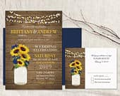 Sunflower Wedding Invitation Set Printable Rustic Mason Jar Country Wedding Navy Blue Wood Sunflowers Wedding RSVP Suite Digital Template