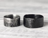 Couples Ring Set w/ Secret Messages Bold Wide Rustic Unisex Hammered Recycled Sterling Silver Band by Pale Fish NY R012