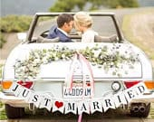 JUST MARRIED Wedding Banner Set, Wedding Photo Prop, Getaway Car Sign, Just Married Sign, Wedding Reception Decoration, Bridal Shower
