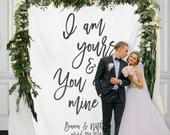 Custom Wedding Backdrop, Wedding Reception Calligraphy Backdrop, Wedding Tapestry Backdrop,Wedding Reception Banner / WA104TP AA3