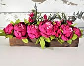 Pink Peony Centerpiece, Rustic Wedding Decor, Table Decorations, Reclaimed Wood Centerpiece, Bridal Shower Decor, Dinner Party