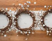 10 wreath, rustic farmhouse/country chic: candle ring, cottage style tabletop, gallery/kitchen/bath accent, woodland wedding chair top