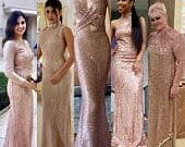 Bridesmaid Dress Prom Mermaid Long Blush Wedding Gown, Rose Gold, Bridal, Formal Evening, Plus Size Maternity, Ball, Floor Length, Party