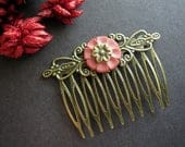 Flower Hair Comb, Floral Hair Comb, Vintage Inspired, Bohemian Wedding, Wild Flower, Woodland Wedding, Pink Flower, Antique Brass, Floral