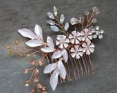 Rose Gold wedding hair comb with blush and opal, Birch