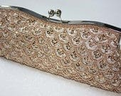 Bridal Clutch hand beaded champagne satin with beads and sequins. Braids Maid gift Mothers Day gift ready to ship.