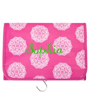 Personalized Hang It Up Cosmetic Bag - Pink - Name -Script