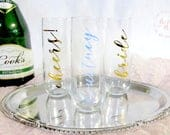 Engagement Flute Bridal Champagne Flute Bridal Party Gift Bridesmaid Gift Bridal Shower Favors Bachelorette Party Gifts