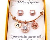 Mother in Law Gift,Rose Gold Personalized Jewelry, Mother of the bride gift Mother of the Groom gift, Mother in law wedding gift,Banglee