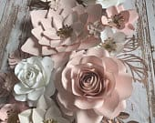 Beautiful blush and off white set, rose gold accents and leaves paper flowers wall decor, paper flower wall backdrop