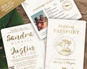 Destination Wedding Passport Invitation Set in Gold and Marble Tropical Design by Luckyladypaper see item details to order