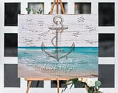 Nautical Wedding Guest book Alternative Sign Anchor Guest Book canvas, Beach Wedding ideas, modern guest book wood Nautical guestbook sign