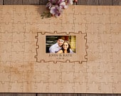 Wooden Wedding Guest book Alternative Photo Custom Puzzle