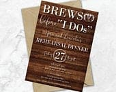 Brews Before I Dos Rustic Rehearsal Dinner Invitations Rehearsal Invitations Brews Before I Do Love is Brewing Invite Wood