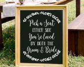 Pick a Seat Not a Side Chalkboard Decal Sign, Seating Sign, Pick a Seat Sign, Wedding Seating, Wedding Signage, Wedding Decor, Ceremony