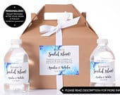 Hotel Guest Box Wedding Favor Box / Welcome Box Sets with Matching Water Bottle Labels Beach Wedding Boxes Gift Box Sets wdiG174