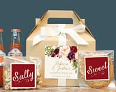 Set of 6 Fall Out of Town Guest Box / Fall Wedding Welcome Box / Fall Wedding Welcome Bag / Marsala Label Design / Fall Wedding Favor