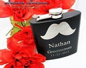 2 Personalized Groomsmen Gift Flask with Mustache, Flask, Groomsmen Flask, Groomsman Gift Best Man Gift, Wedding Gift, Mustache Flask