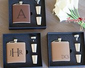 Groomsmen Gift Personalized Groomsmen Flask Leather Hip Flask Gift Set Engraved with Name, Monogram or Initials Wedding Party Gift