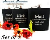 7 GROOMSMEN FLASKS, Best Groomsmen Gift Ideas, Personalized Flasks, Wedding Party Favors, Father of Bride GIft, Father of Groom Gift