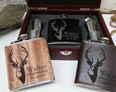 Christmas Gift Personalized Flask Groomsmen Gift Set, Wedding Party Favors, Gift for Hunter, Gift for Outdoorsman