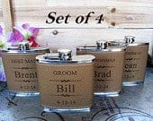 Set of 4 Great Wedding Party Favors for Men and Women // Personalized Leather Wrapped Hip Flask // Best Groomsmen and Bridesmaids Gift Ideas