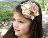 French Kiss Couture Headband Flower Girl Headband, Bridal Headband, Couture Headband, Ivory Headband, Beige Headband, Baby Girl Headband