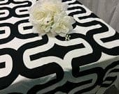 LARGE GEOMETRIC TABLECLOTH Choose size, Black and White, 54 60 72 84 90