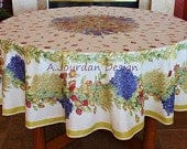 ROSES LAVENDER Acrylic Cotton Coated Round Tablecloths French Oilcloth Stain Water Resistant Wipe Off Table Decor French Country Home