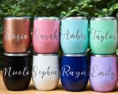 Bridesmaid Gift Set Personalized Wine Tumbler Custom Wine Cup Sippy Cup Bridesmaid Proposal Bachelorette Party Favor Engraved Wine Tumbler