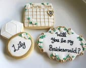 Will you be my Bridesmaid Cookies, Will you be my Maid of Honor Cookie, Maid of Honor, Bridesmaid, Wedding, Save the Date, Ring, Gift, Favor