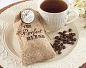 Perfect Blend Burlap Favor Bags Coffee Rustic The Perfect Blend Tea Coffee Favor Bags w optional Custom Tags Thank YouWedding Favor Bags