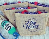 5 Key West Flordia Nautical Anchor Destination Custom Destination Sunset Cruise Wedding Welcome Beach Tote Burlap Bags Wedding Favors