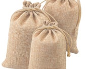 50 pcs Wedding Hessian Burlap Jute Linen Favor Gift Bags, Drawstring Jewelry Pouch Wedding Party Favor Candy Bags U.S. SELLER Fast Shipping