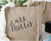 Personalized Burlap Tote Bag Beach Canvas Tote Bridal Party Beach Bags, Custom Wedding Totes, Bridesmaid Custom Tote Bags, BTB06BR