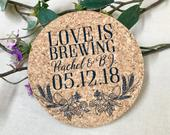 Love is Brewing Barley and Hops Wreath Cork Coaster Wedding Favors // Personalized Wedding Reception Cork Coaster Favors for Guests