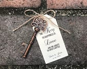 100 Skeleton Key Bottle Openers Customized Tags Personalized Printed Tags Antique Key Favors Key to Love Ability to Open a Bottle