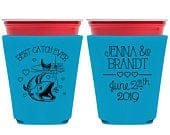 Wedding Cup Coolers Maritime Wedding Favors Beer Holder Cup Sleeve Solo Cups Cup Sleeve Coolers Beach Wedding Favors Best Catch Ever 1A Fish