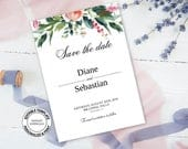 Floral Save the date editable template, Watercolor pink and blush flowers and greenery Save the date card, wedding printable template, W13