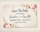 Save The Date, Bohemian Flowers Vintage Rustic Chic Wedding Save The Date Card, 4 x 6 Postcard PRINTS (STD21)