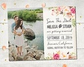 Wedding Save The Date Magnets FloralDream Rustic Boho Save The Date Magnet, Whimsical Flowers Photo Save The Date, Personalized 4.25x5.5