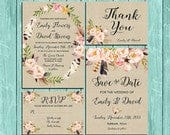 Floral wreath and feathers wedding Invitation kit set rustic watercolor Save the date RSVP Thank You Cards Printable digital files