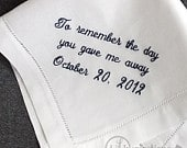 Father of the Bride Handkerchief Personalized Hankerchief Dad Wedding Handkerchief Father of the Bride Gift