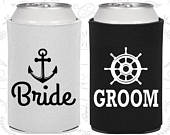 Bride and Groom Can Cooler, Bride and Groom Gift, Bride and Groom Set, Nautical, Anchor, Wedding Gifts for Couple (320018)
