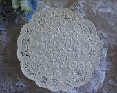 20 pcs Vtg 4 inch French Fancy FLORAL Ivory Off white Lace ROUND Scallop edge Paper Doily Crafts Cards Valentine Stamping RETIRED Original