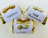 120 WEDDING ANNIVERSARY Themed wrappers/stickers/labels that fit your Hershey Nugget Chocolates (Personalized Favors) for any party/event!